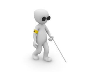 Picture of a drawn person using a white cane